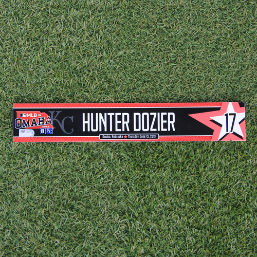 Photo of Game-Used Locker Tag: MLB in Omaha - Hunter Dozier (DET @ KC - 6/13/19)