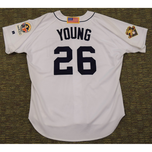 Photo of Dmitri Young Detroit Tigers #26 Home Jersey with 100th Season American League Charter Member Patch and Detroit 300 Patch  (NOT MLB AUTHENTICATED)