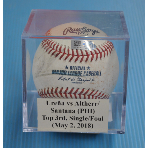 Photo of Game-Used Baseball: Jose Ureña vs Aaron Altherr/Carlos Santana (PHI), Top 3rd, Single/Foul (May 2, 2018)