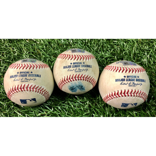 Photo of Game Used Baseball Package: Giovanny Urshela, D.J. LeMahieu & Aaron Judge - First 7-Inning DH at Tropicana Field - August 7-8, 2020 v NYY