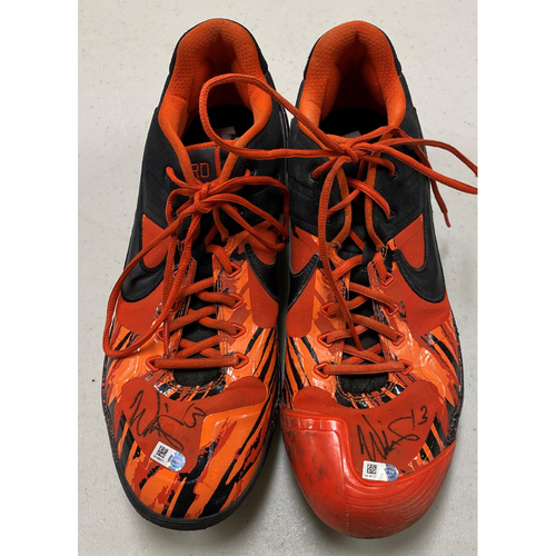 Photo of 2020 Cyber Monday Sale - #13 Will Smith 2019 Game Used Autographed Black & Orange Nike Cleats - used on 9/29 vs. LAD - Size 13