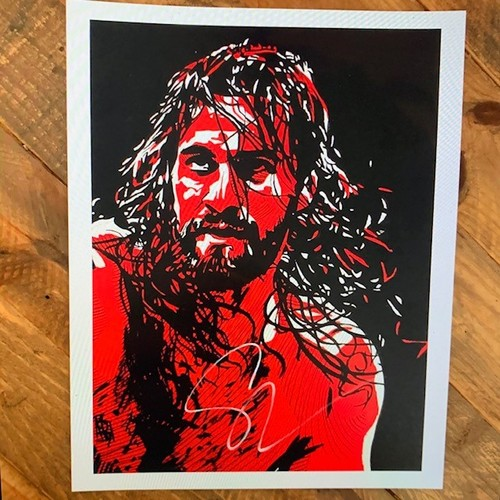 Photo of Seth Rollins SIGNED Rob Schamberger 11 x 14 Art Print (Black, White, and Color)