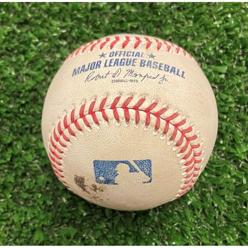 Photo of Austin Riley Hit Single Baseball off Freddy Peralta - 10/11/21 - NLDS Game 3
