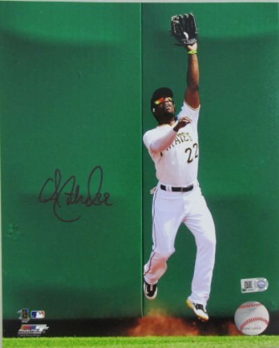 Photo of Andrew McCutchen Autographed Jumping at Wall 8x10
