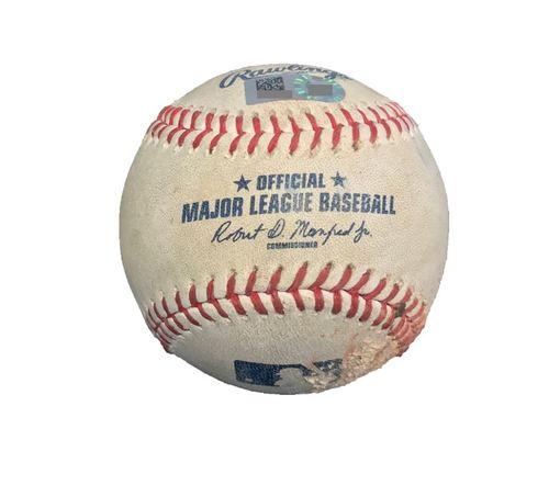Game-Used Baseball from Pirates vs. Yankees on 4/21/17 - Warren to Harrison, McCutchen - Harrison K Looking, 2 Pitches to McCutchen