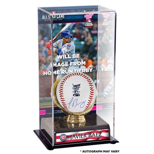 Photo of Javier Baez Chicago Cubs Autographed 2018 MLB Home Run Derby Baseball and Home Run Derby Sublimated Display Case with Image - PRESALE