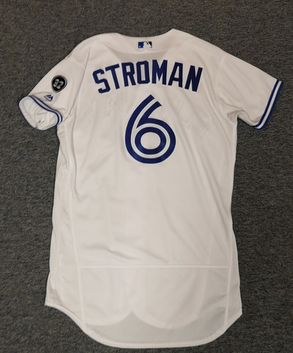 Photo of Authenticated Game Used Jersey - #6 Marcus Stroman (June 29, 18: 7 IP, 4 Hits, 1 ER, 4 Ks. Winning Pitcher. July 21, 18: 7 IP, 5 Hits, 1 ER, 2 BB, 7 Ks. Winning Pitcher). Size 42.