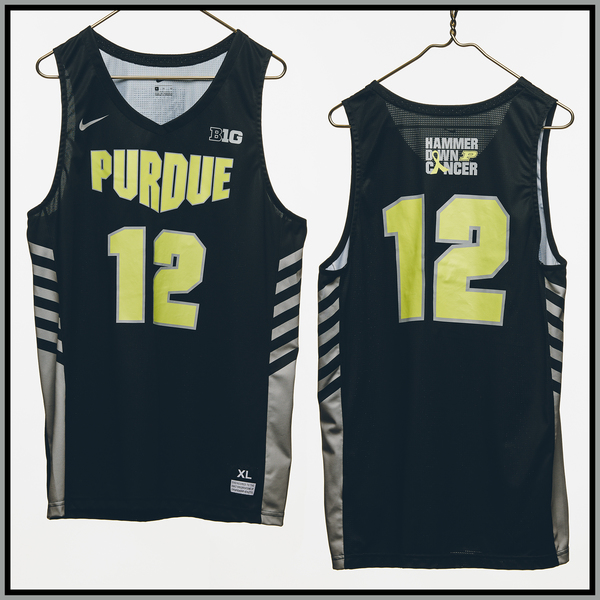 Photo of Purdue Basketball #12 Hammer Down Cancer Jersey, Worn By Evan Boudreaux