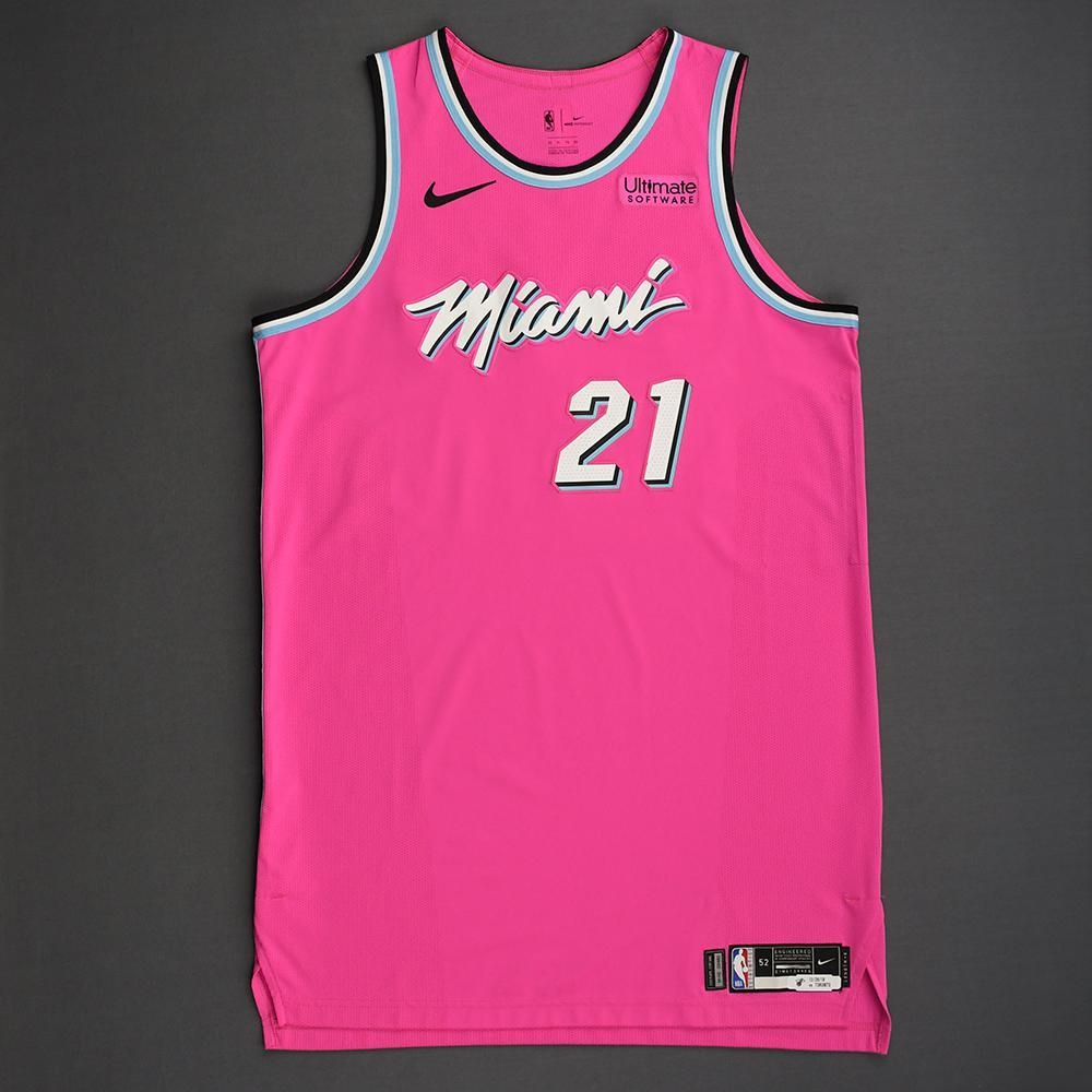 Hassan Whiteside - Miami Heat - 2018-19 Season - Game-Worn Pink Earned Edition Jersey - Double-Double