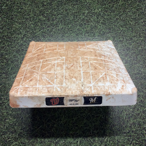 Photo of Game-Used 1st Base (INN 1-10) WSH@MIL 07/24/18 - Christian Yelich HR #13; Tyler Saladino Walk-Off Sacrifice Fly in 10th Inning