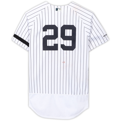 Photo of Giovanny Urshela New York Yankees Game-Used #29 White Pinstripe Jersey vs. Cleveland Indians on August 18, 2019