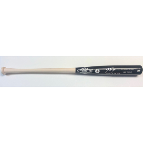 "Photo of Mike Trout ""14,16,19 AL MVP"" Autographed Game Model Old Hickory Bat"