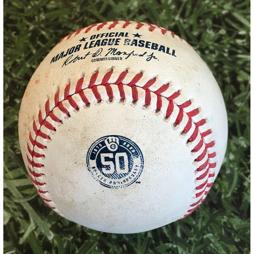 Photo of Game-Used Baseball CHW@MIL 08/04/20 - Devin Williams - Jose Abreu: RBI Single