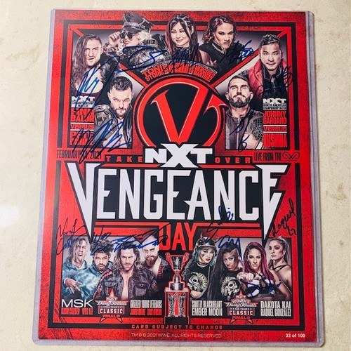 SIGNED and NUMBERED NXT TakeOver Vengeance Day Fight Card (Random Number)