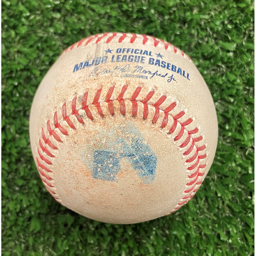 Photo of Game Used Baseball - Pitcher: Ian Anderson, Batter: Lorenzo Cain (Ball, Foul) - 10/11/21 - NLDS Game 3
