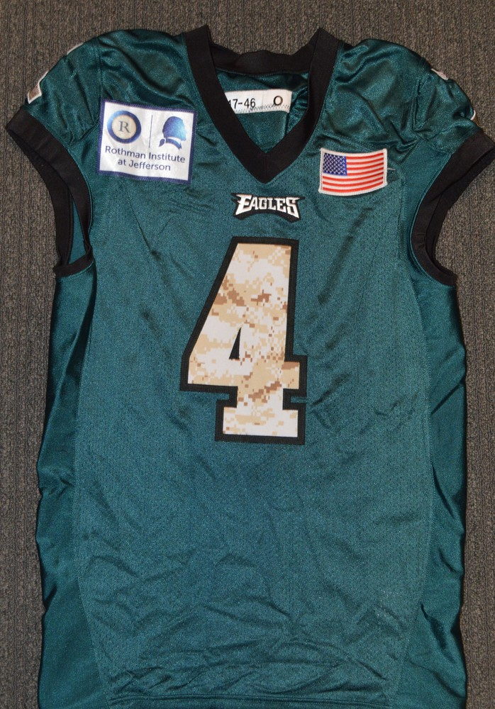 EAGLES - Jake Elliot SALUTE TO SERVICE SIGNED PRACTICE WORN JERSEY NOVEMBER  2017 WITH CAMO NUMBERS bd1f9929b
