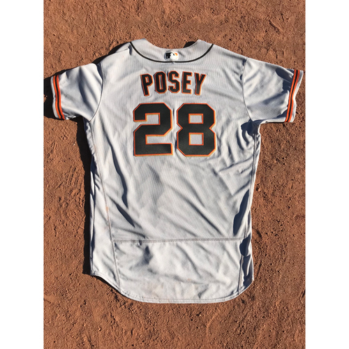 Photo of San Francisco Giants - 2017 Game-Used Jersey - #28 Buster Posey - Road Jersey - Worn 9/25 - 2 for 4, 1 R - Jersey Size 46