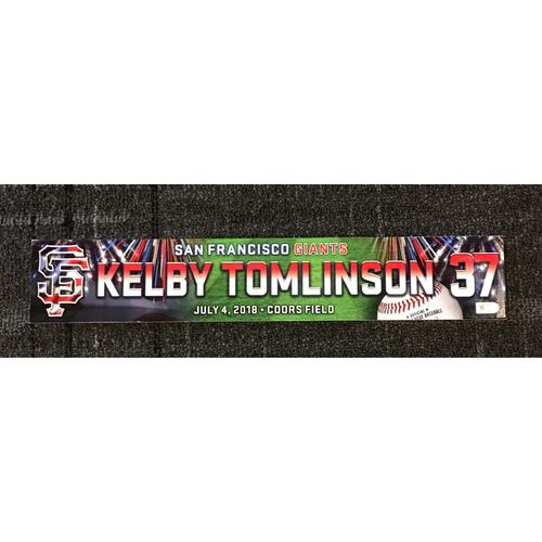 Photo of San Francisco Giants - 2018 Stars & Stripes Team-Issued Locker Name Plate - #37 Kelby Tomlinson