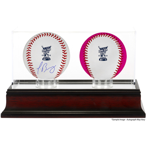 Photo of Javier Baez Chicago Cubs Autographed 2018 MLB Home Run Derby Baseball, Unsigned Bonus Time Baseball and Home Run Derby Sublimated Display Case with Image - PRESALE