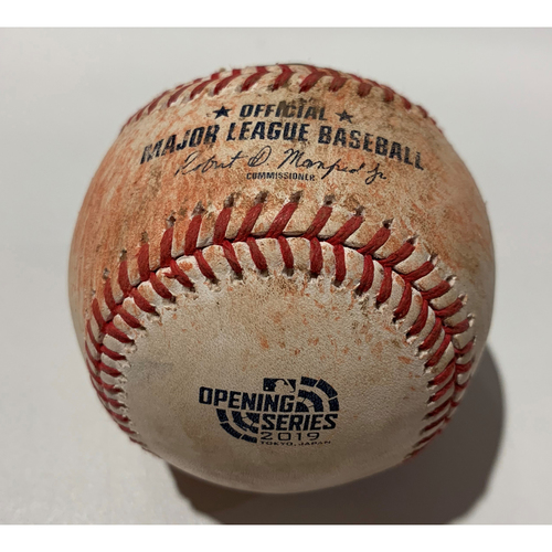Photo of 2019 Japan Opening Day Series - Game Used Baseball - Batter: Mark Canha, Pitcher : Roenis Elias - Groundout to SS - 3/21/19