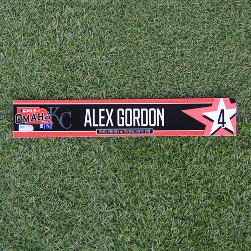 Photo of Game-Used Locker Tag: MLB in Omaha - Alex Gordon (DET @ KC - 6/13/19)