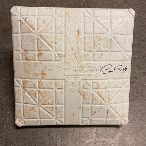 Photo of 2019 Game Used & Autographed Base - Game Used on 4/10 vs. San Diego Padres - 3rd Base from Innings 1-3 - Autographed by #15 Bruce Bochy
