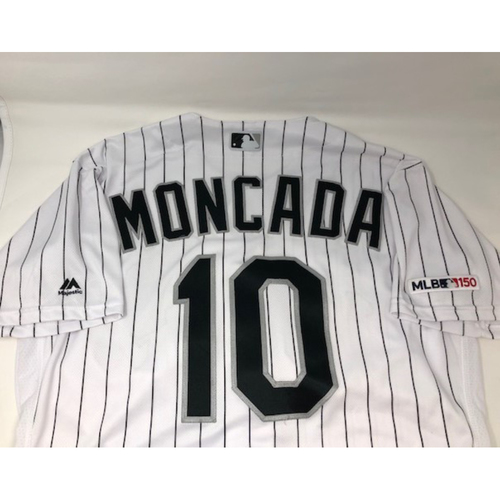 Photo of Yoan Moncada Game-Used 2019 White Pinstripe Jersey