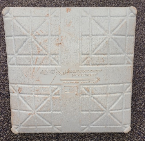 Photo of Authenticated Game Used Base: 3rd Base for Innings 10 to 12 (Sep 13, 19 vs NYY). Bo Bichette became the youngest Blue Jay ever with a Walk-Off Home Run.
