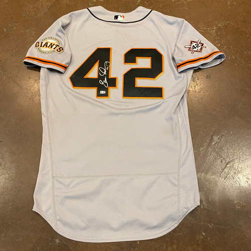 Photo of 2020 Jackie Robinson Day Jersey - Team Issued & Autographed - #10 Evan Longoria - Size 44