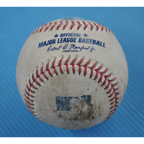 Photo of Game-Used Baseball - 2020 ALCS - Houston Astros vs. Tampa Bay Rays - Game 2 - Pitcher: Charlie Morton, Batter: George Springer (Foul) - Top 1