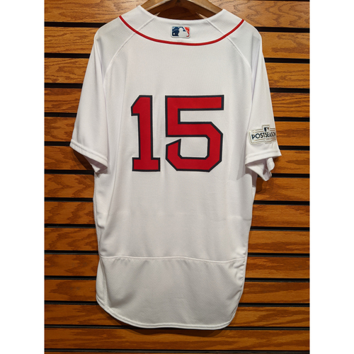 Photo of 2017 Postseason Dustin Pedroia #15 Team Issued Home White Jersey