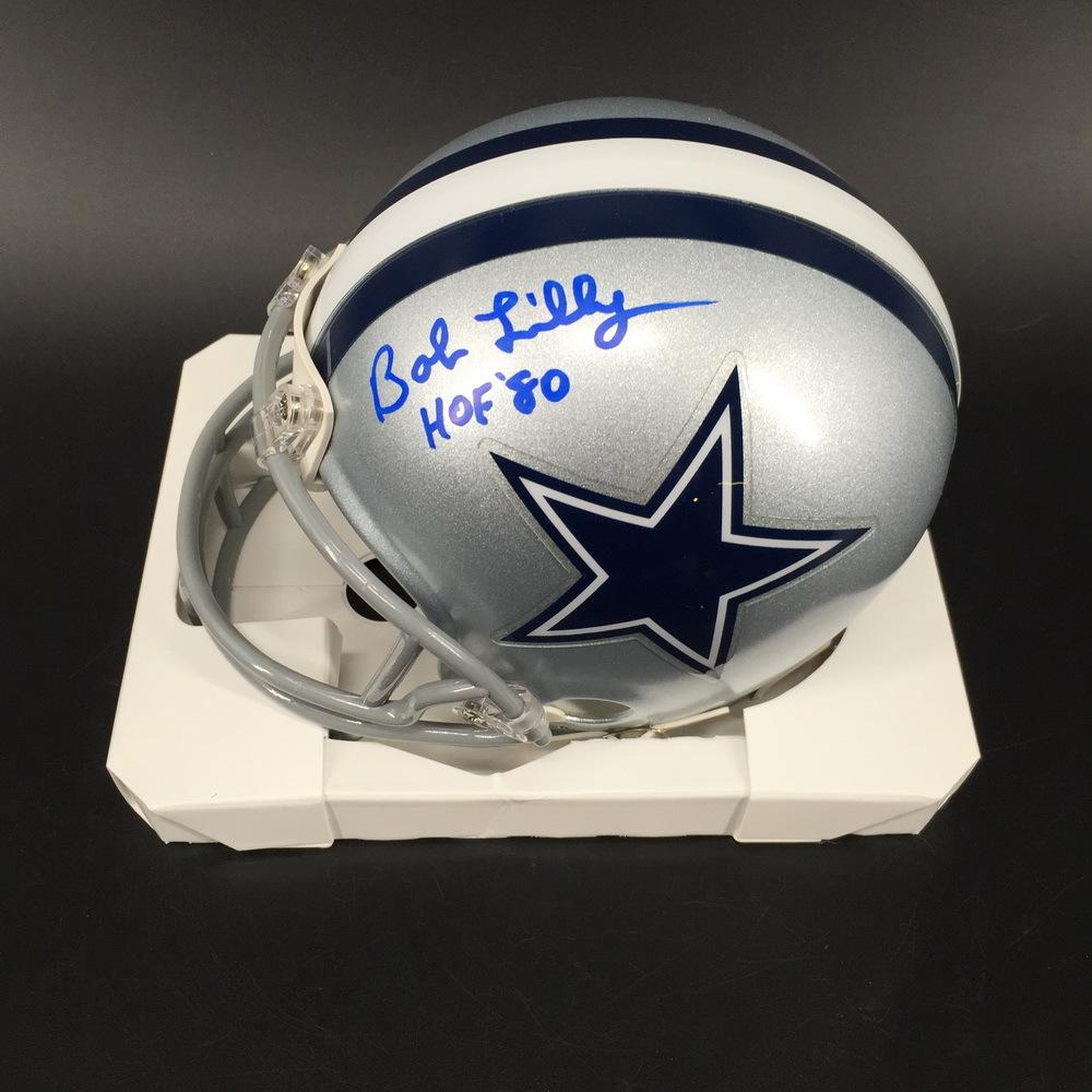 HOF - Cowboys Bob Lilly Signed Mini Helmet