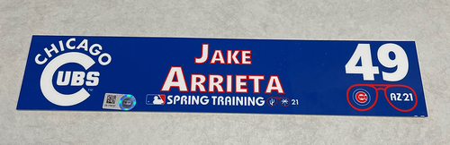 Photo of Jake Arrieta 2021 Spring Training Locker Nameplate