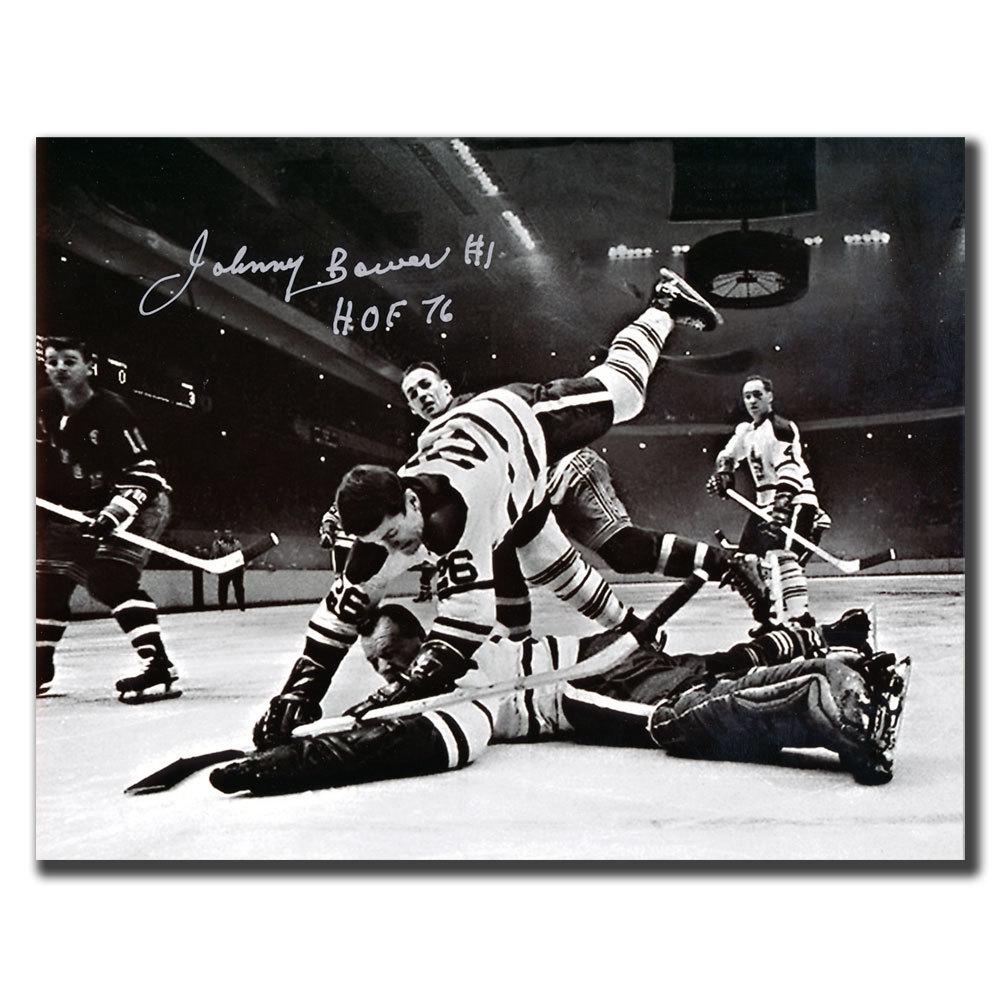 Johnny Bower Toronto Maple Leafs HOF Net Shot Autographed 8x10