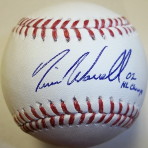 "Photo of Tim Worrell ""02 NL Champs"" Autographed Baseball"
