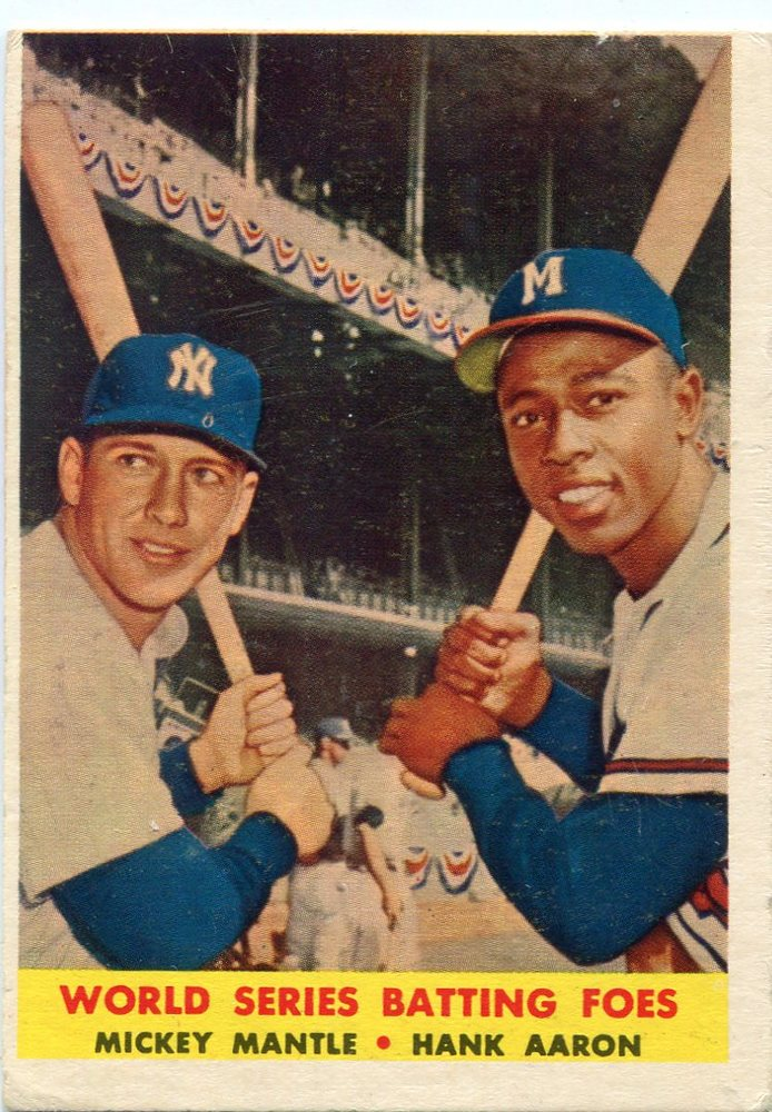 1958 Topps #418 World Series Batting Foes/Mickey Mantle/Hank Aaron