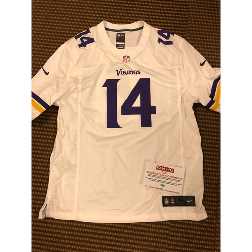 Photo of Stefon Diggs (Player #14) Autographed home Vikings Jersey