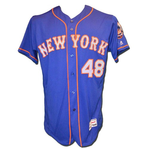 Photo of Jacob deGrom #48 - Team Issued Blue Alternate Road Jersey - 2017 Season