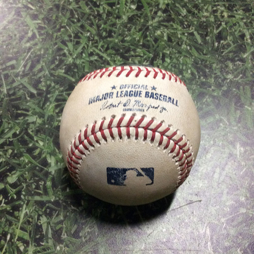 Photo of Game-Used Baseball STL@MIL 06/24/18 - Dan Jennings - Marcell Ozuna: Single