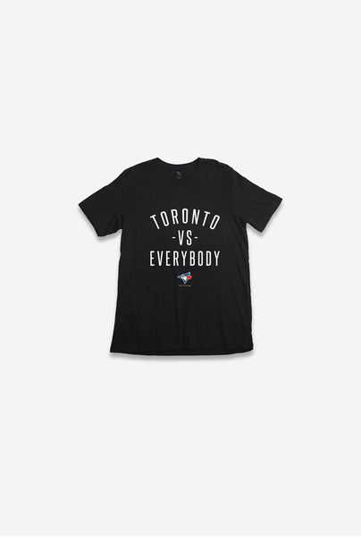 Toronto Blue Jays Toronto VS. Everybody Black T-Shirt by Peace Collective