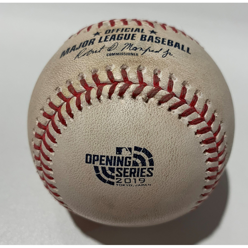 Photo of 2019 Japan Opening Day Series - Game Used Baseball - Batter: Ryon Healy, Pitcher : Joakim Soria - Double - 3/21/19