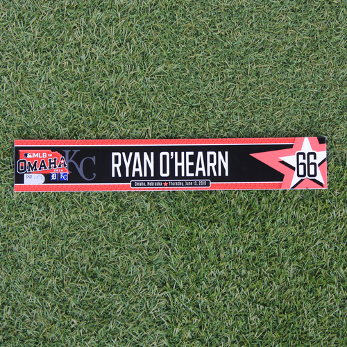 Photo of Game-Used Locker Tag: MLB in Omaha - Ryan O'Hearn (DET @ KC - 6/13/19)