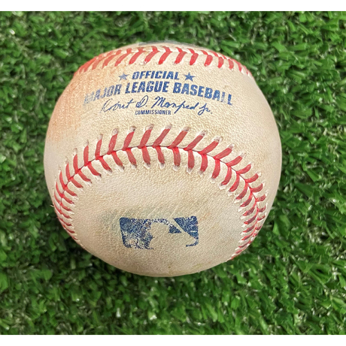 Photo of Charlie Morton Strikeout Ball of Christian Yelich - 10/12/21 - NLDS Game 4, Braves Win NLDS