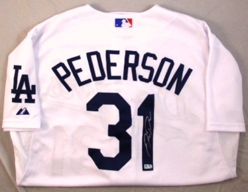 Photo of Joc Pederson Autographed Authentic Majestic Dodgers Jersey