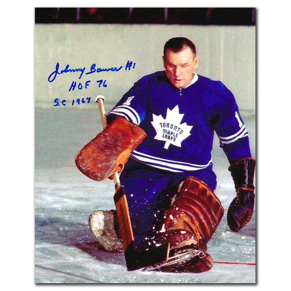 Johnny Bower Toronto Maple Leafs HOF SC 1967 Autographed 8x10