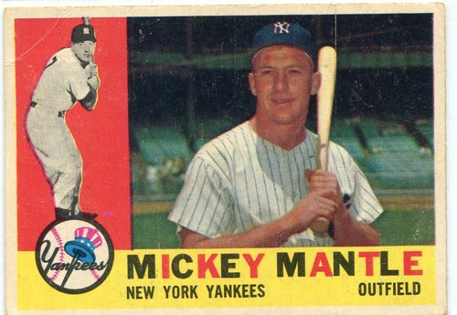 Photo of 1960 Topps #350 Mickey Mantle -- Hall of Fame Class of 1974