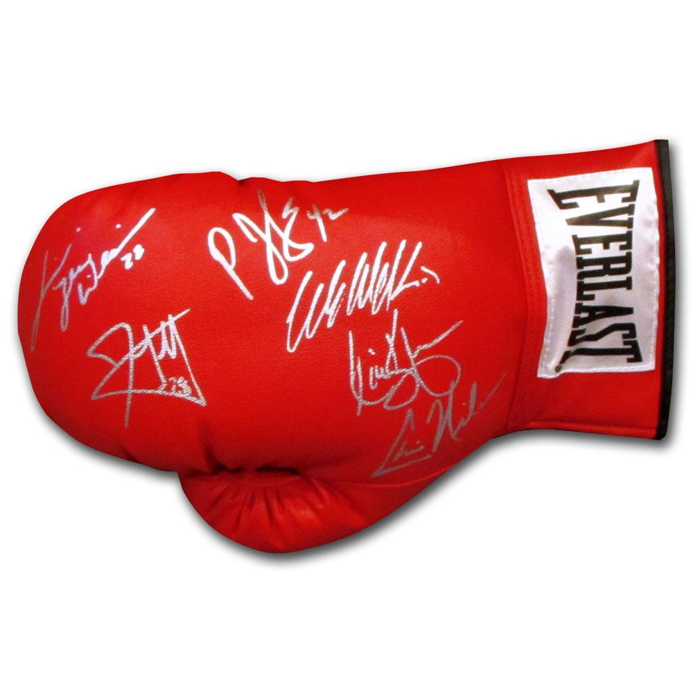 Legendary NHL Enforcers Autographed Everlast Boxing Glove - Clark, Kypreos, Nilan, Scott, Stock & Williams