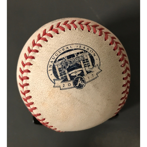 Photo of Ozzie Albies Game-Used Hit Double Baseball - 9/15/17
