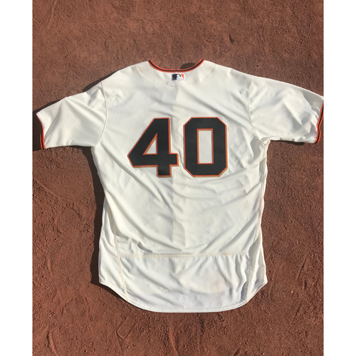 Photo of San Francisco Giants - 2017 Game-Used Jersey - #40 Madison Bumgarner - Home Jersey - Worn 10/1 - Jersey Size 50