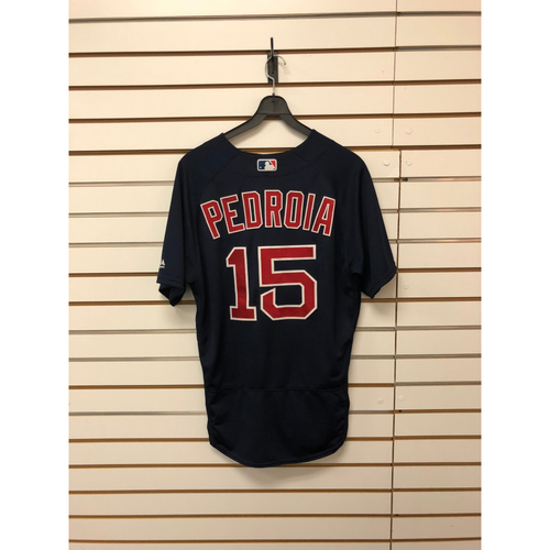 Photo of Dustin Pedroia Game-Used June 16, 2017 Road Alternate Jersey